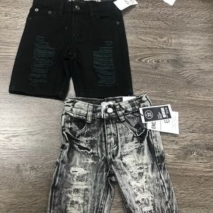 Encrypted Bottoms - 2 pair toddler baby boy black & gray ripped jeans
